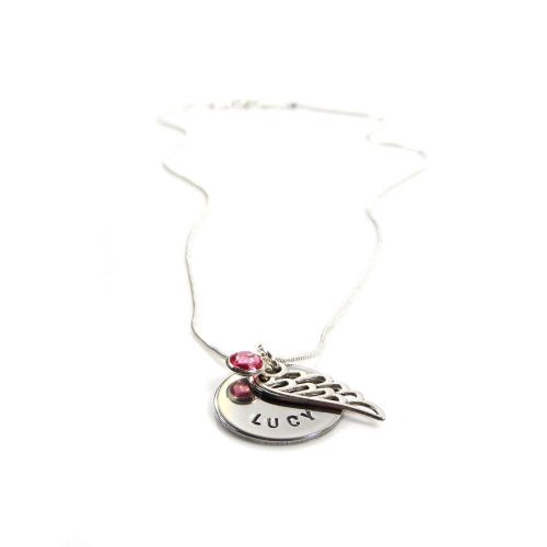 Hand Stamped Personalised Necklace with Birthstone and Angel Wing - Gift Boxed & Free Delivery UK